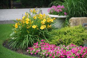 Landscaped flower garden