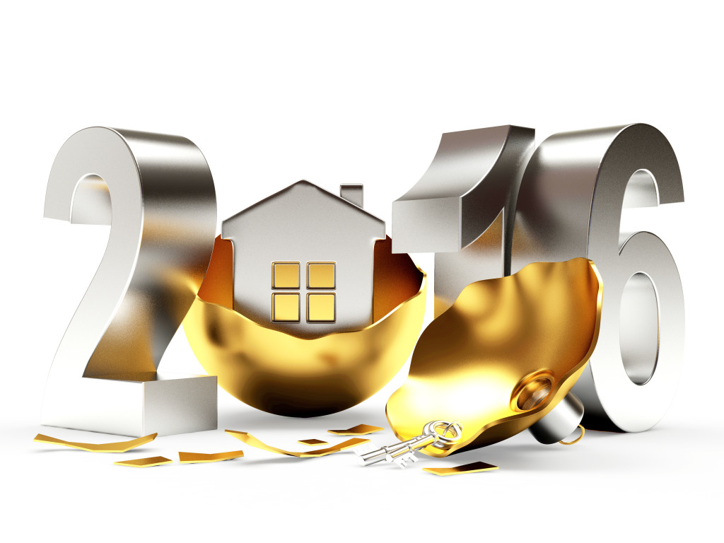 Silver 2016 New Year and broken golden Christmas ball with house isolated on white background